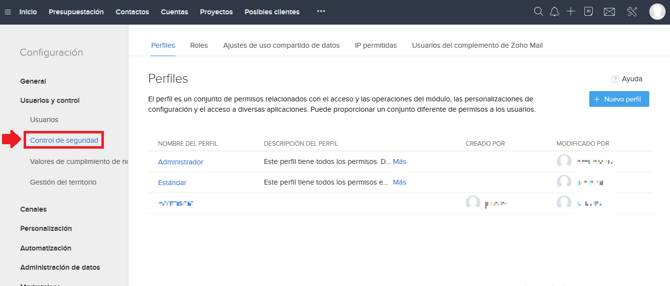 Control Perfiles Zoho CRM